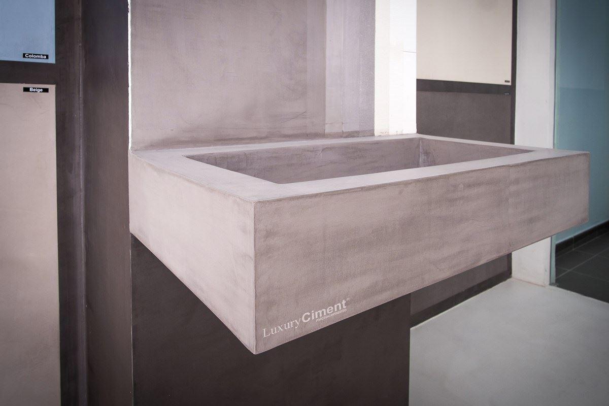 Microcemento en suelos paredes ba os cocinas para for Lavabo de obra para bano