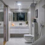 baño de diseño con microcemento en suelos, paredes y lavabo