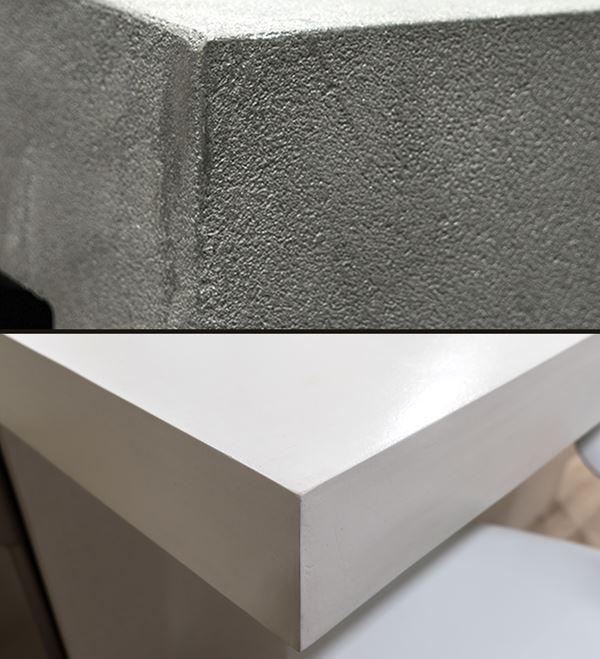 diferentes texturas en muebles de microcemento