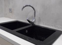 Encimera y pared de cocina con microcemento